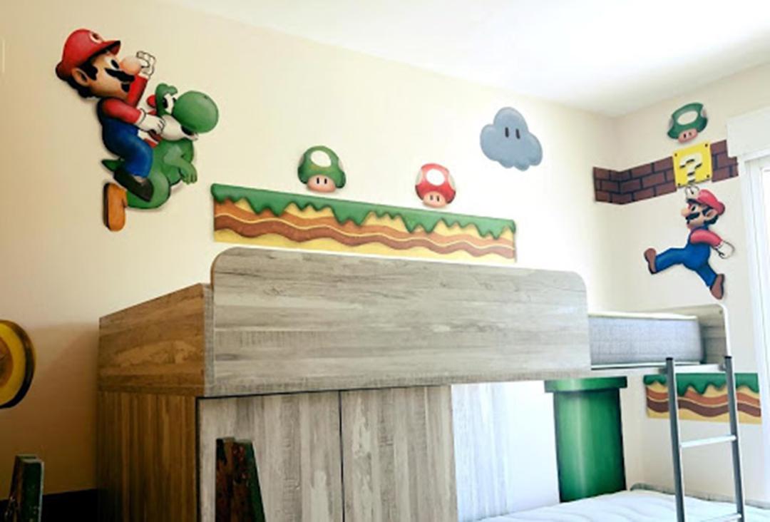 graffiti super mario en habitacion infantil