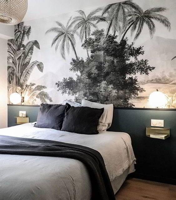 pared palmeras blanco y negro
