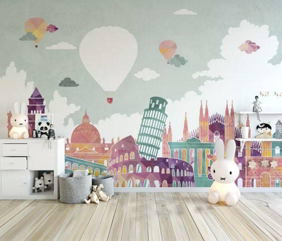 pared infantil mapa