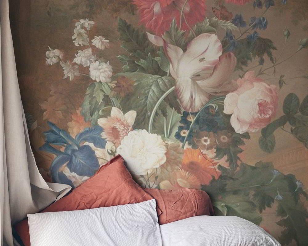 mural de flores dormitorio
