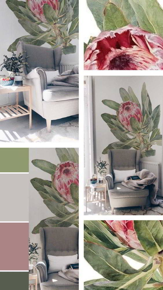 collage flor mural salon