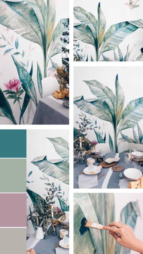 Mural de vegetacion en salon comedor