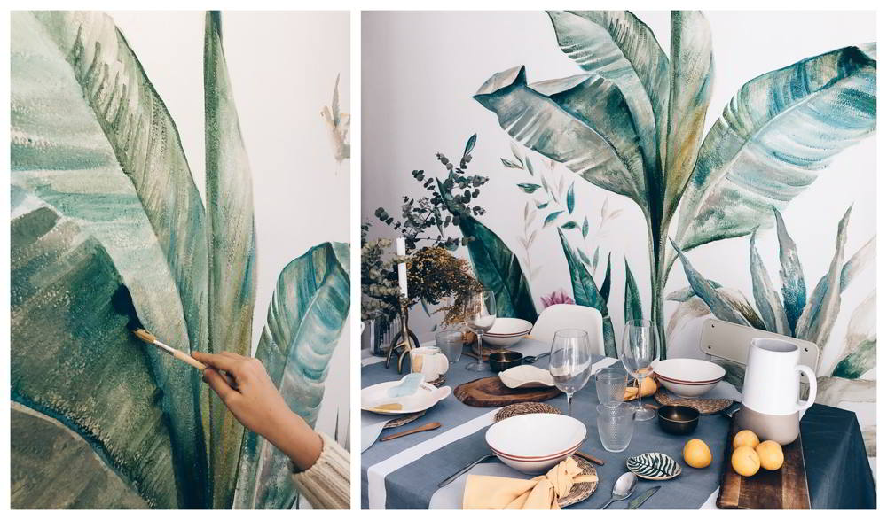 mural vegetacion pintado a mano