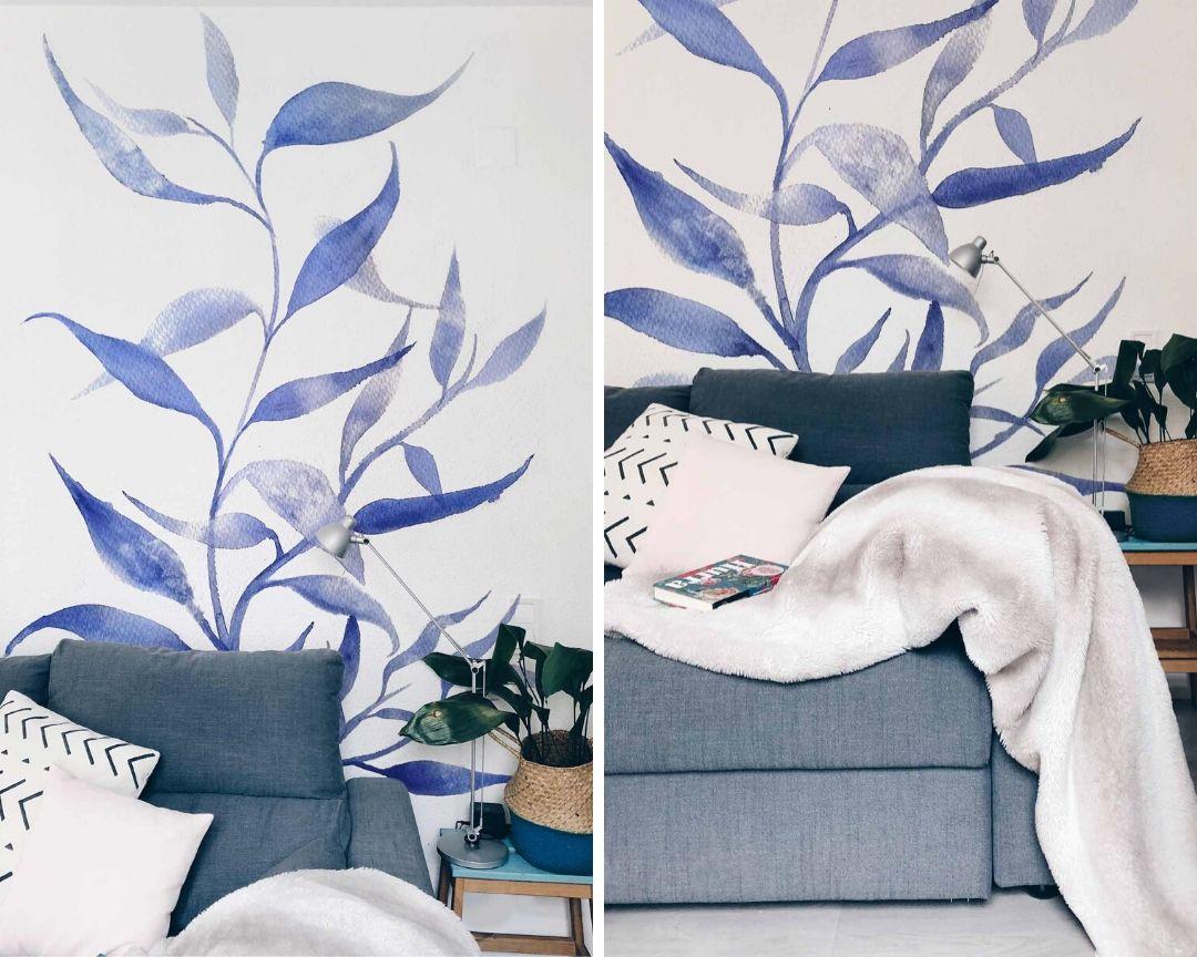 mural monocromo azul