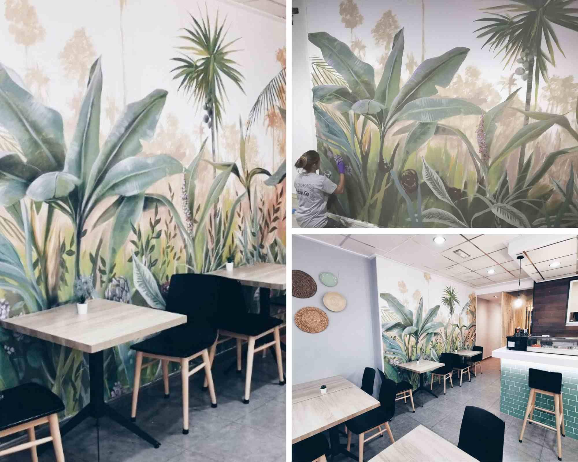 mural de vegetacion en restaurante