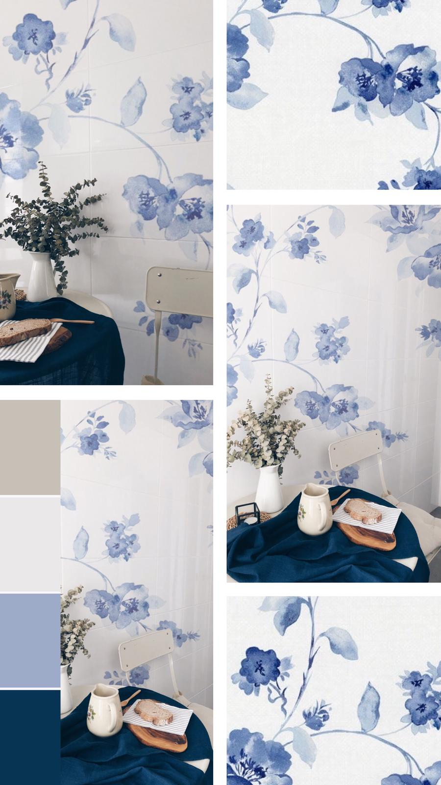 mural romantico vintage flores