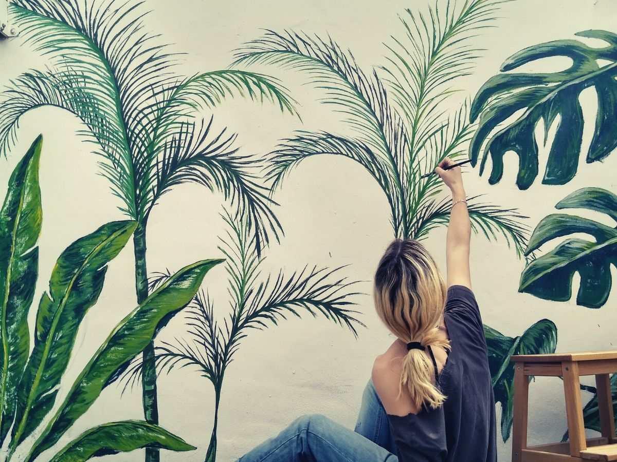 mural de plantas interior y exterior
