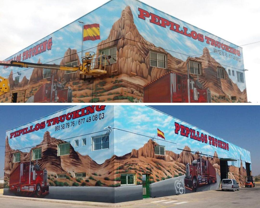 mural fachada industrial transporte