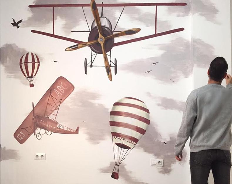 mural infantil avionetas