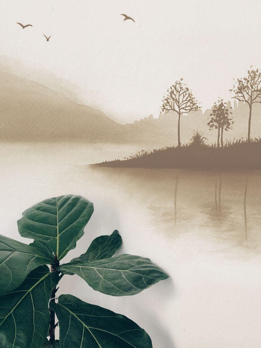 mural paisaje lago blanco, beige y marron