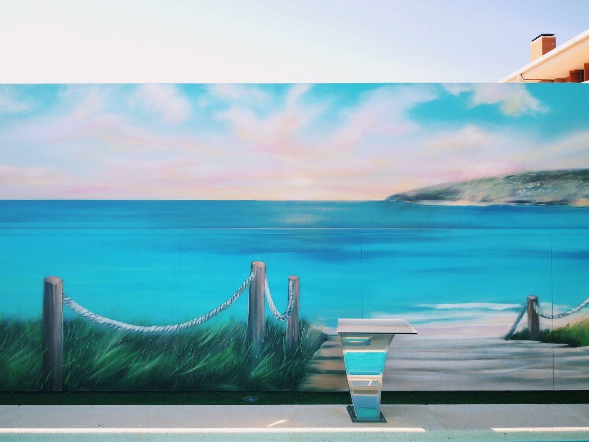 mural paisaje mar en exterior