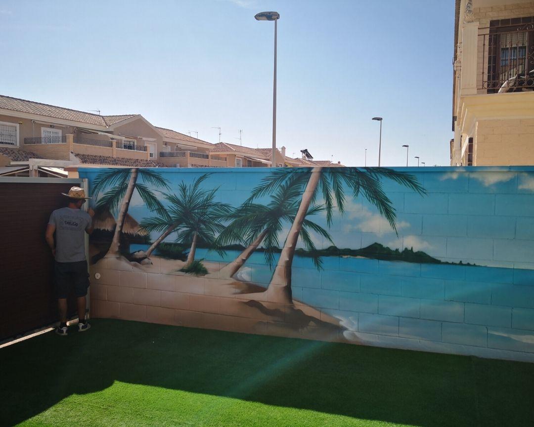 mural paisaje mar terraza piscina proceso