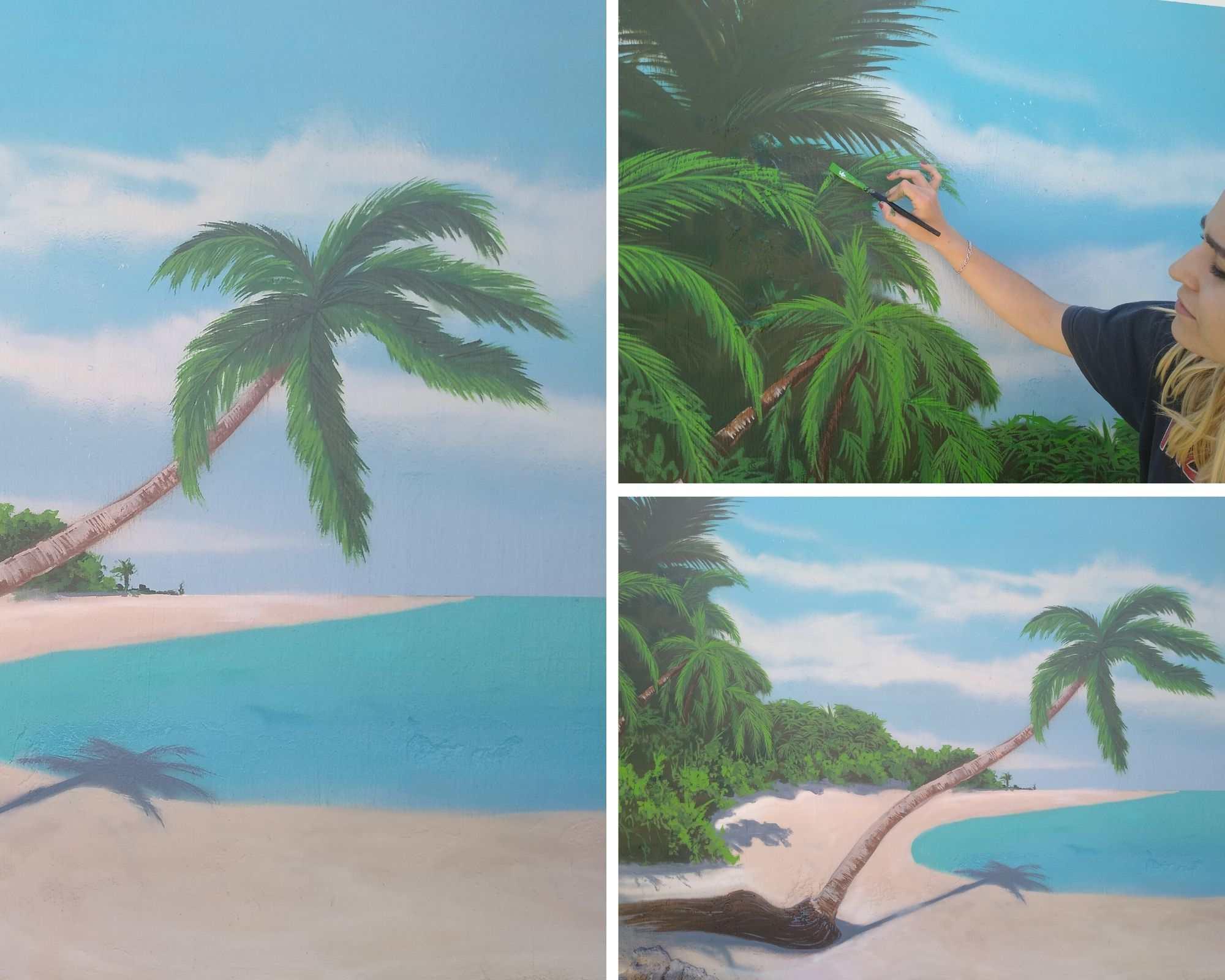 mural paisaje playa