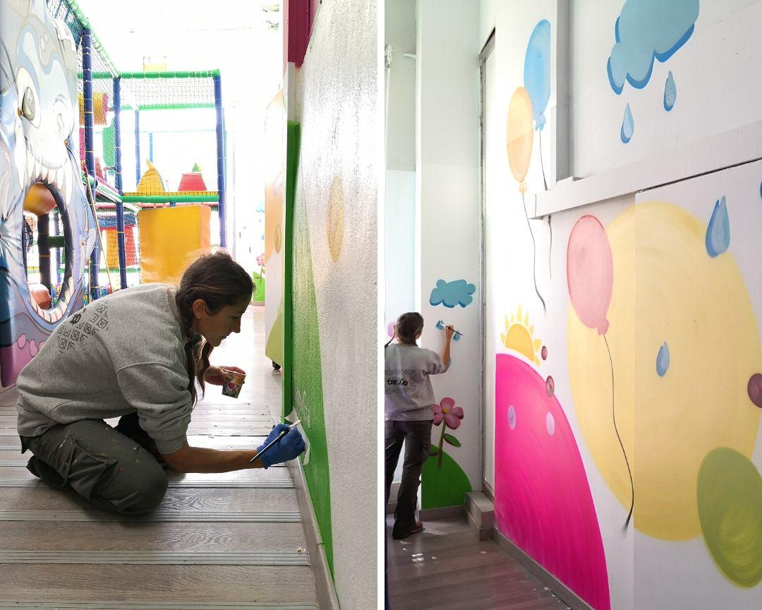 mural parque infantil colores