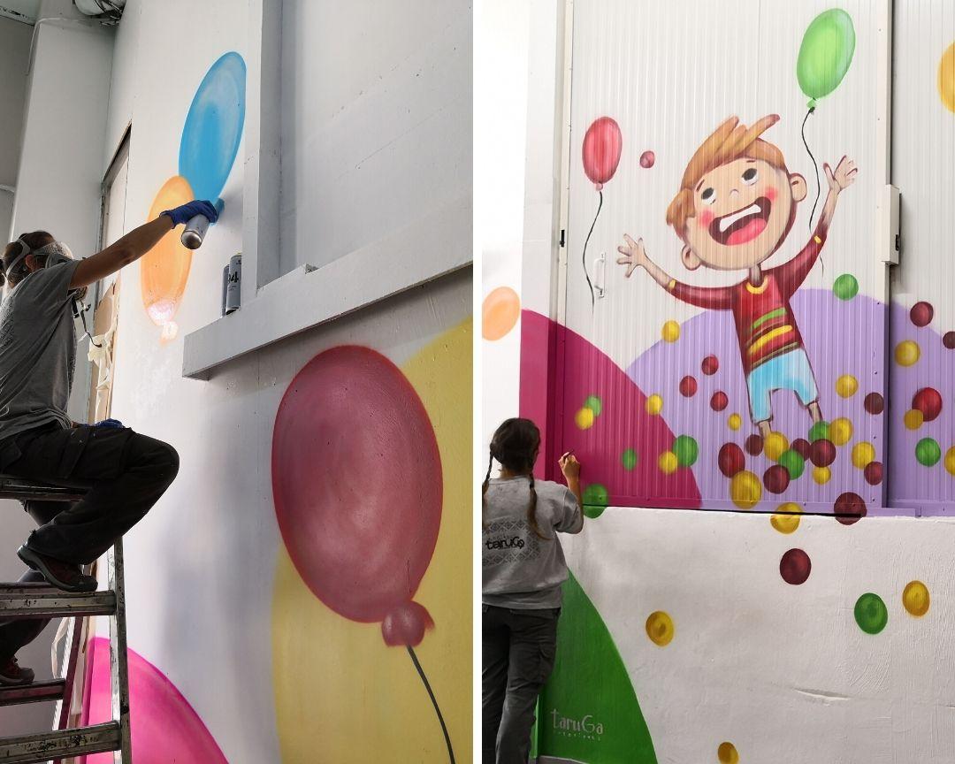 mural parque infantil globos