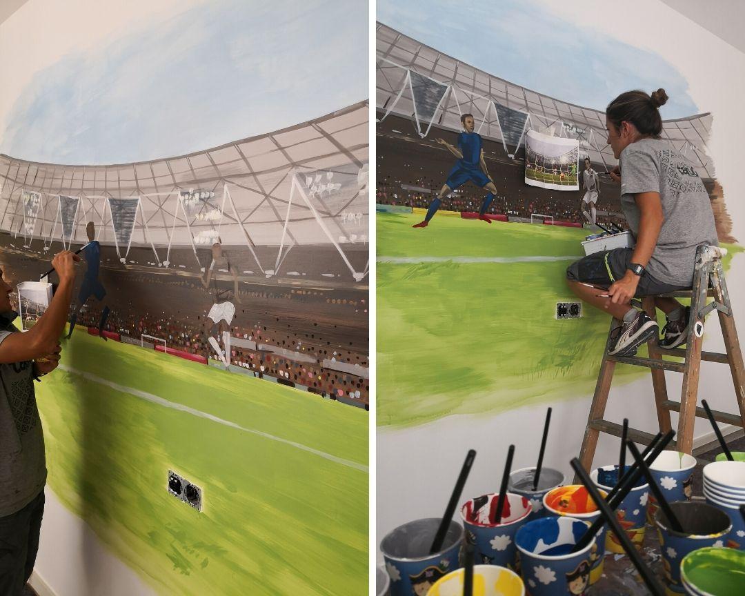 mural proceso pintura futbol infantil