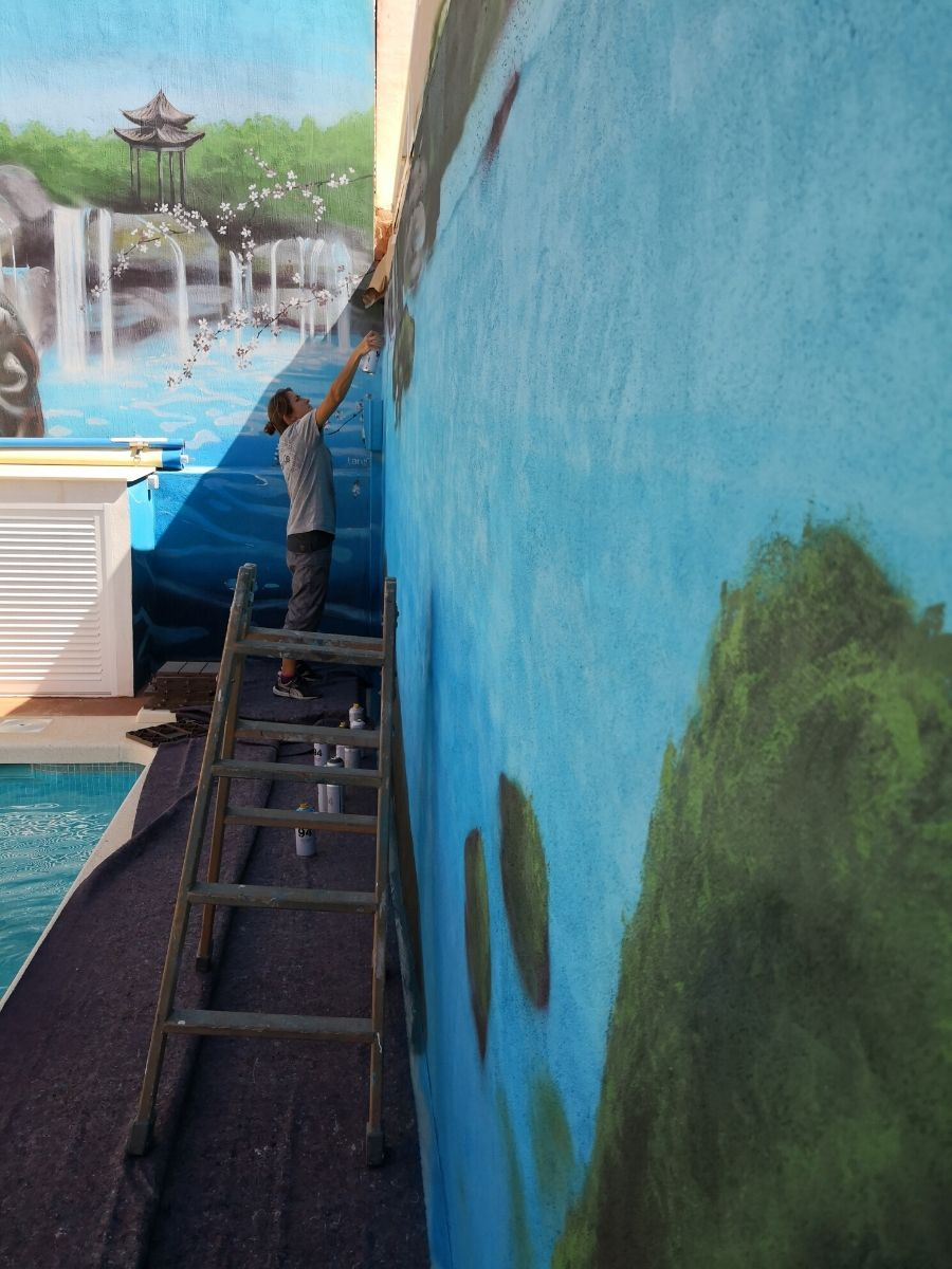 paisaje budista agua proceso