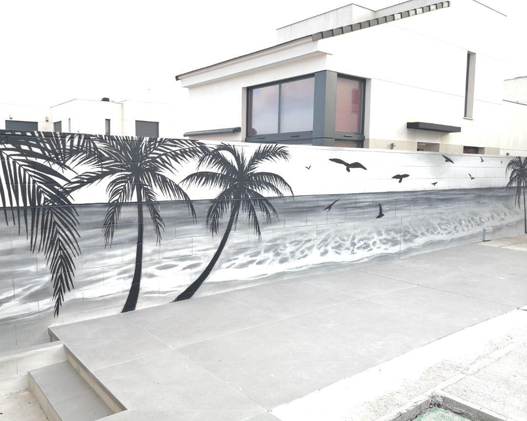 paisaje playa horizonte blanco y negro