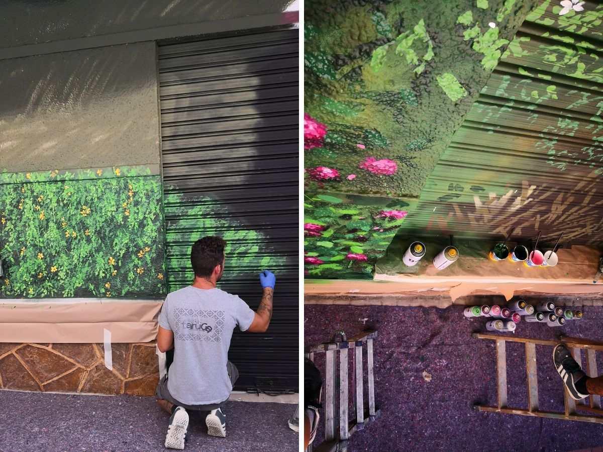 proceso mural en restaurante vegetacion