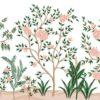 Mural-de-vegetación-con-plantas-y-arboles-con-flores