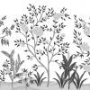 Mural-de-vegetación-con-plantas-y-arboles-con-flores-en-blanco-y-negro